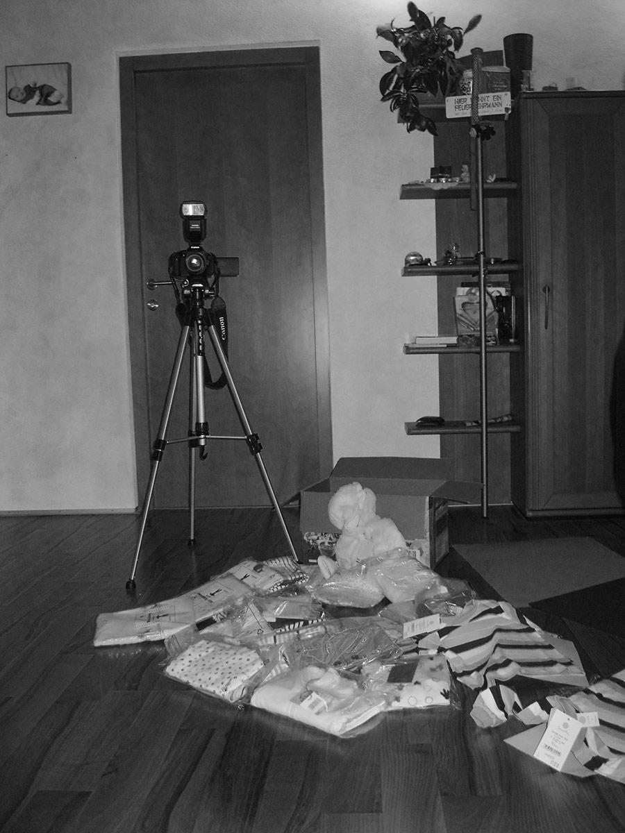 Fotografie der Babyartikel für den Babyshop