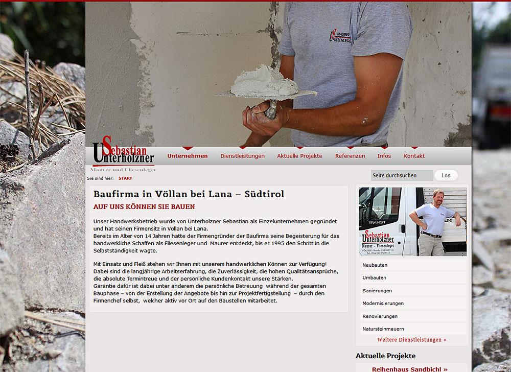 Baufirma Sebastian Unterholzner Völlan Lana