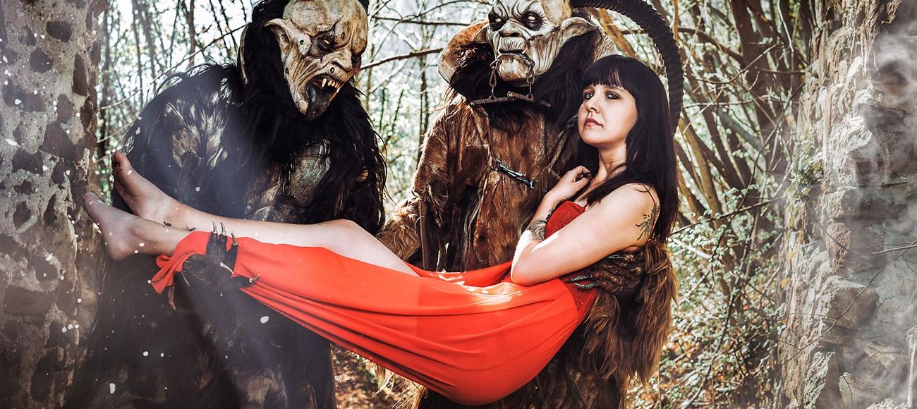 Shooting mit Krampus und Frau in Lana