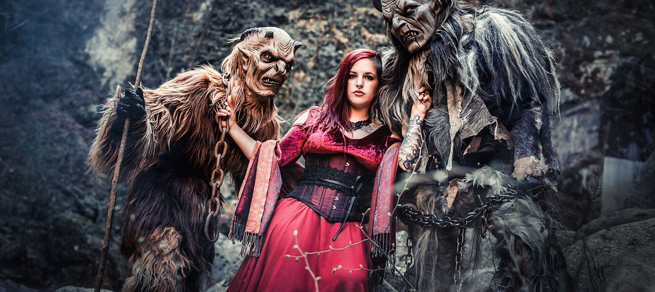 Krampus Photoshooting mit Model in Lana