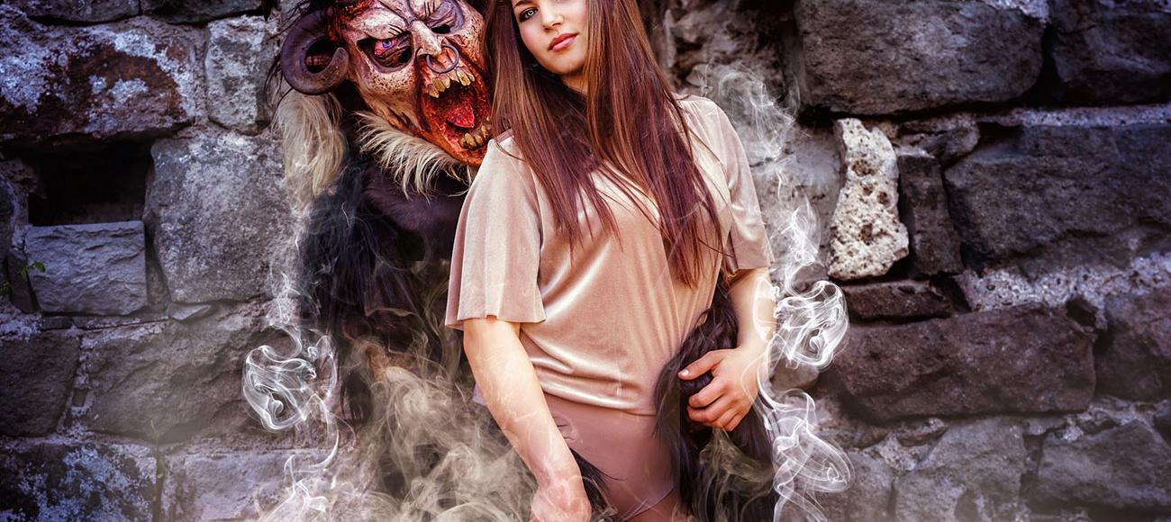 Photoshooting Krampus und Frau Südtirol